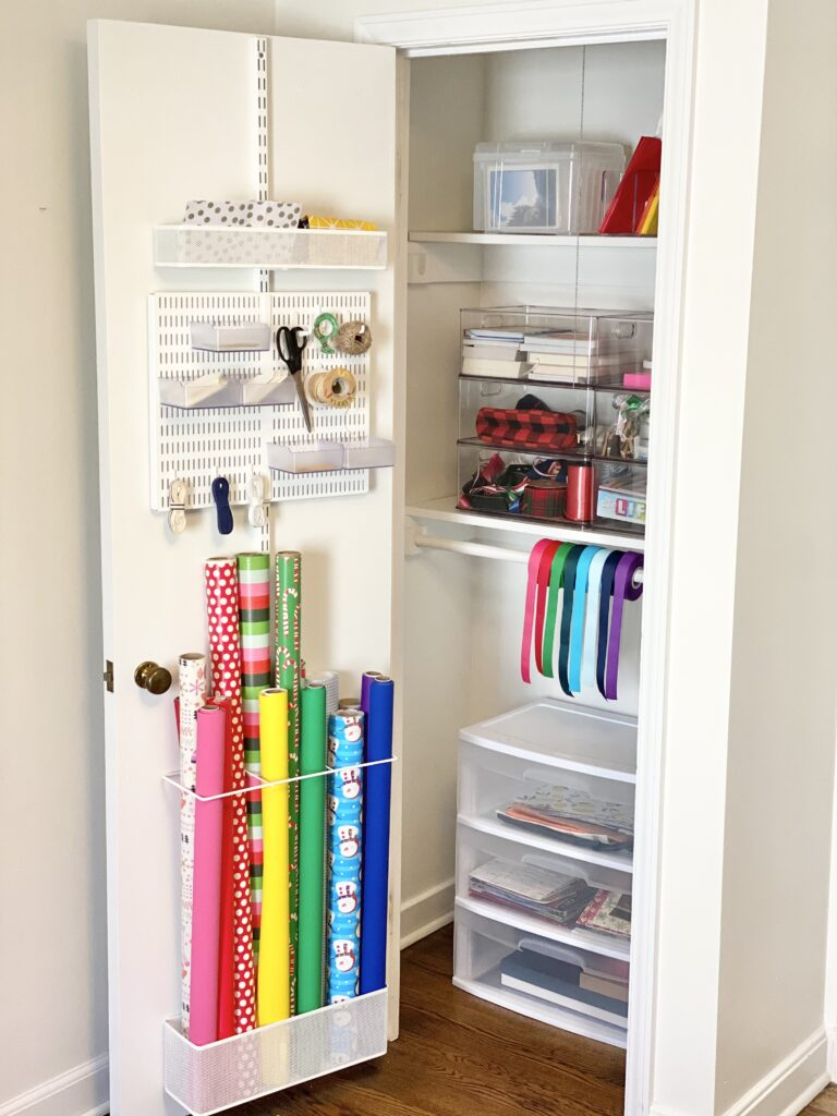 gift closet for holiday gifts
