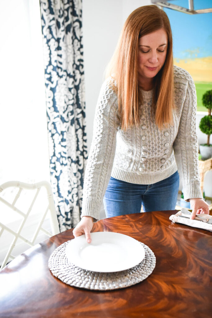 Setting the dining room table