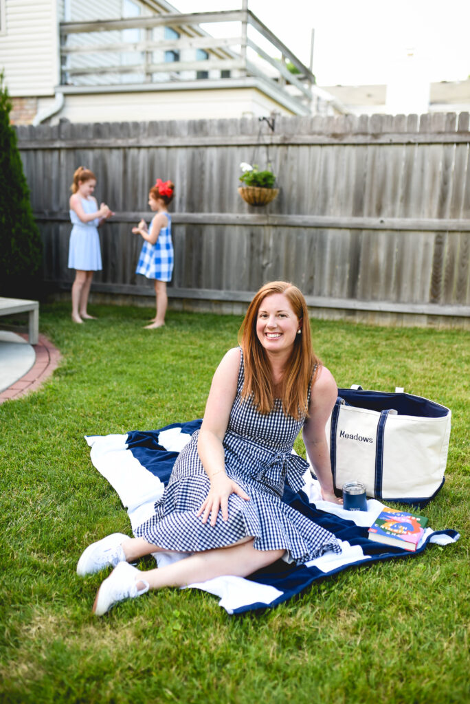 Family bucket list activities include picnicking in the back yard