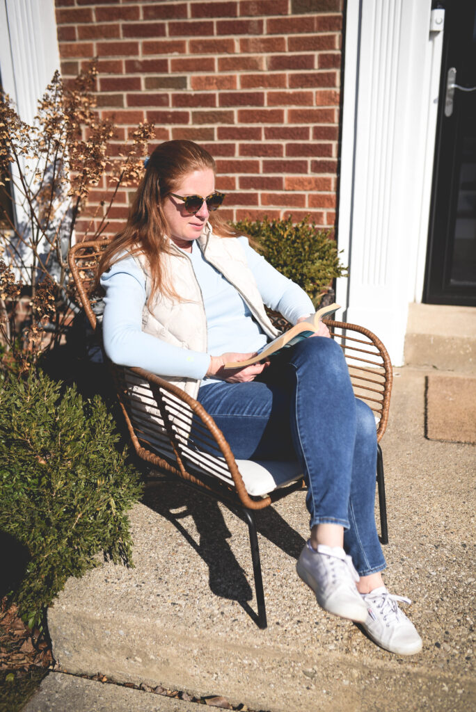 Reading outside in the fresh air helps me manage stress.