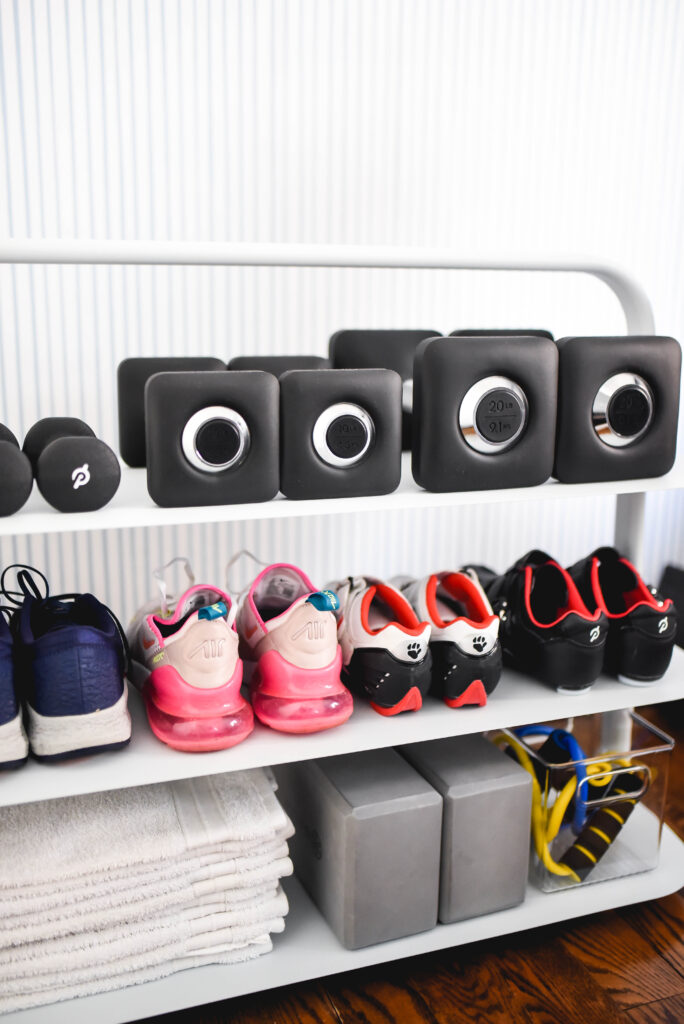Workout accessories on an Open Spaces entryway rack