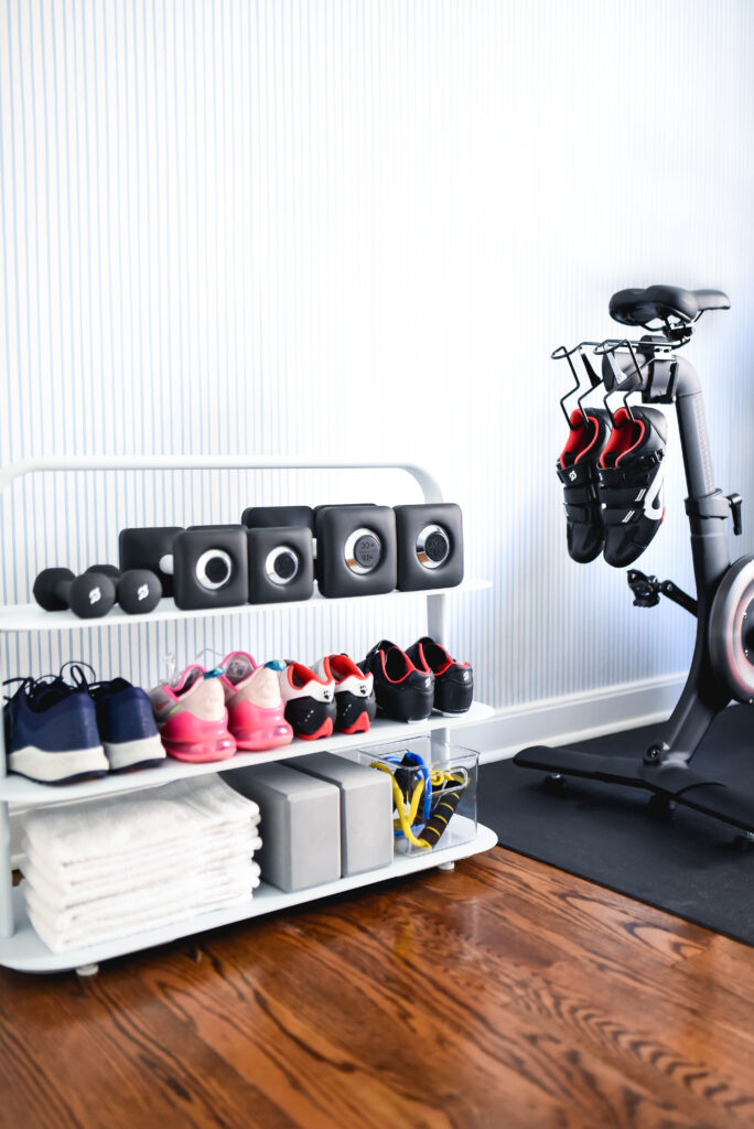 Organized home workout space